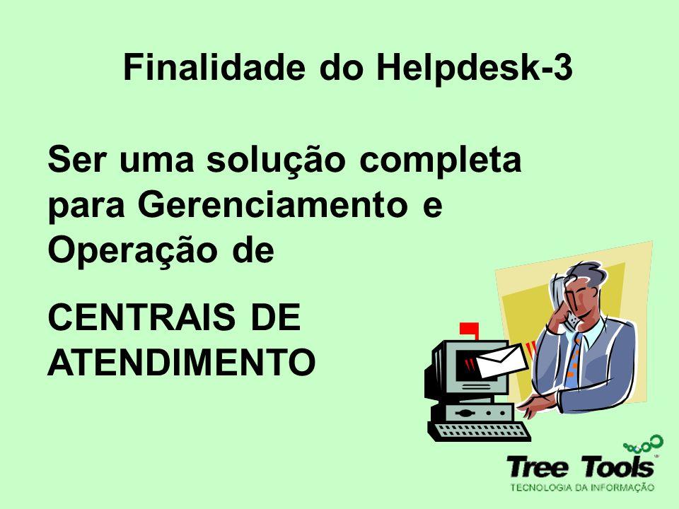 Finalidade do Helpdesk-3 Ser uma solução completa para Gerenciamento e Operação de CENTRAIS DE ATENDIMENTO