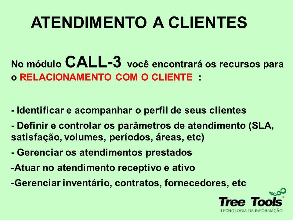 ATENDIMENTO A CLIENTES No módulo CALL-3 você encontrará os recursos para o RELACIONAMENTO COM O CLIENTE : - Identificar e acompanhar o perfil de seus