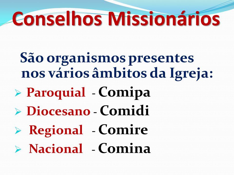 Conselhos Missionários São organismos presentes nos vários âmbitos da Igreja: Paroquial - Comipa Diocesano - Comidi Regional - Comire Nacional - Comina