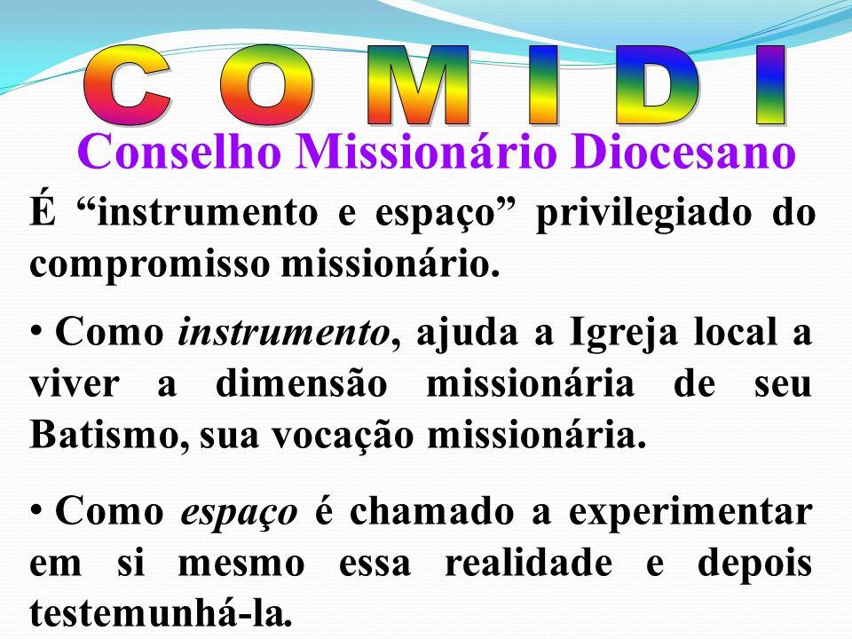 Conselho Missionário Diocesano É instrumento e espaço privilegiado do compromisso missionário.