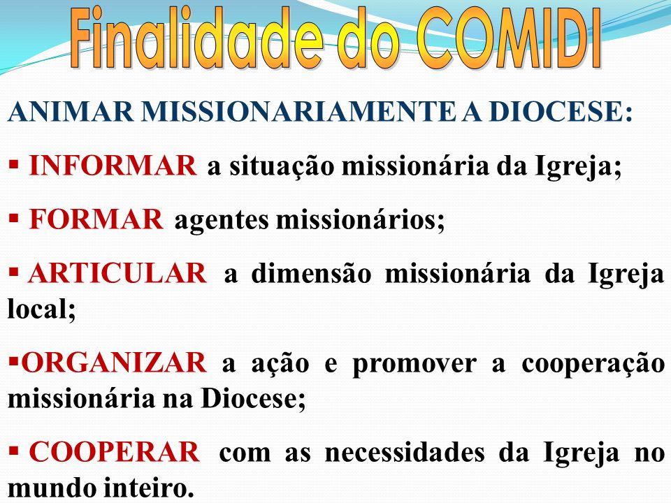 ANIMAR MISSIONARIAMENTE A DIOCESE: INFORMAR a situação missionária da Igreja; FORMAR agentes missionários; ARTICULAR a dimensão missionária da Igreja local; ORGANIZAR a ação e promover a cooperação missionária na Diocese; COOPERAR com as necessidades da Igreja no mundo inteiro.
