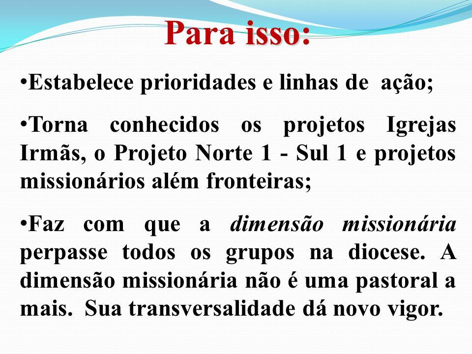 isso Para isso: Estabelece prioridades e linhas de ação; Torna conhecidos os projetos Igrejas Irmãs, o Projeto Norte 1 - Sul 1 e projetos missionários além fronteiras; Faz com que a dimensão missionária perpasse todos os grupos na diocese.