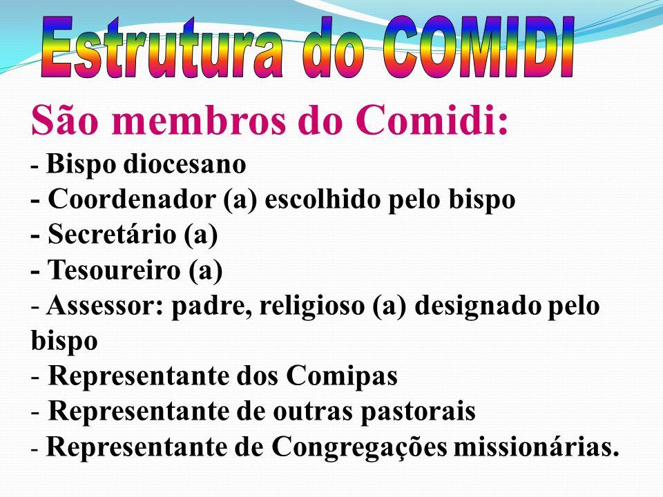 São membros do Comidi: - Bispo diocesano - Coordenador (a) escolhido pelo bispo - Secretário (a) - Tesoureiro (a) - Assessor: padre, religioso (a) designado pelo bispo - Representante dos Comipas epresentante de outras pastorais - R- Representante de Congregações missionárias.