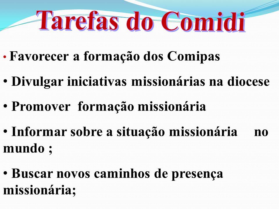 Favorecer a formação dos Comipas Divulgar iniciativas missionárias na diocese Promover formação missionária Informar sobre a situação missionária no mundo ; Buscar novos caminhos de presença missionária;