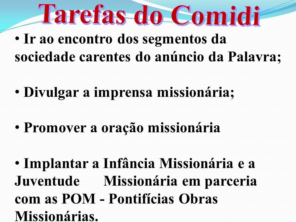 Ir ao encontro dos segmentos da sociedade carentes do anúncio da Palavra; Divulgar a imprensa missionária; Promover a oração missionária Implantar a Infância Missionária e a Juventude Missionária em parceria com as POM - Pontifícias Obras Missionárias.