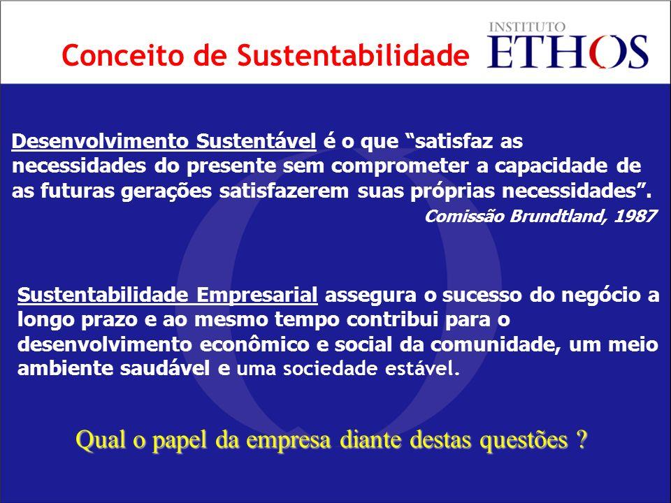 Conceito de Sustentabilidade Desenvolvimento Sustentável é o que satisfaz as necessidades do presente sem comprometer a capacidade de as futuras gerações satisfazerem suas próprias necessidades.
