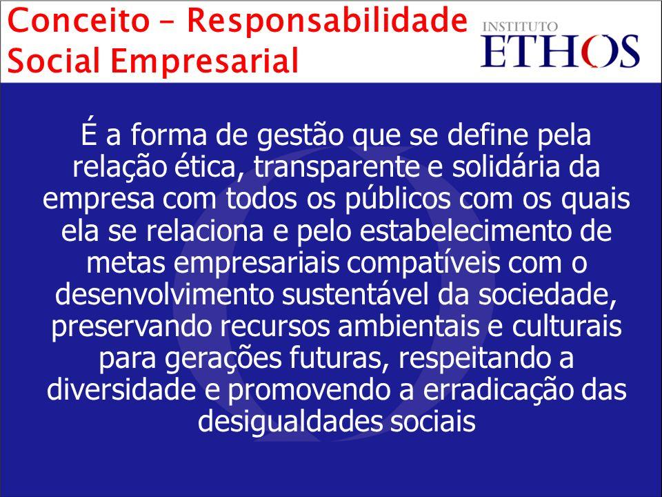 É a forma de gestão que se define pela relação ética, transparente e solidária da empresa com todos os públicos com os quais ela se relaciona e pelo e