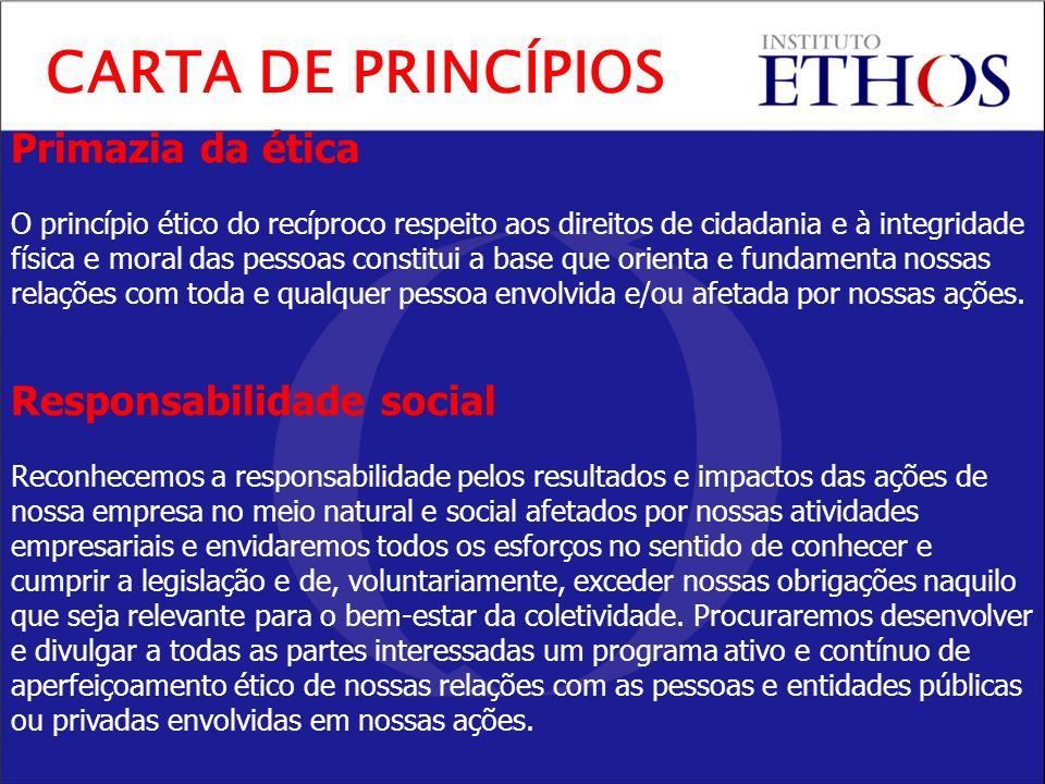 Primazia da ética O princípio ético do recíproco respeito aos direitos de cidadania e à integridade física e moral das pessoas constitui a base que orienta e fundamenta nossas relações com toda e qualquer pessoa envolvida e/ou afetada por nossas ações.