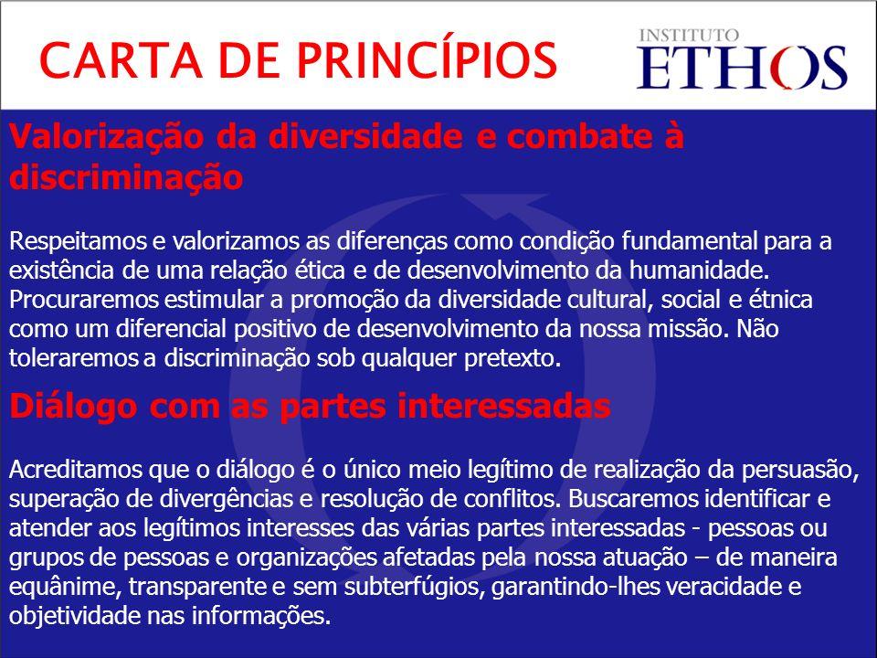 Valorização da diversidade e combate à discriminação Respeitamos e valorizamos as diferenças como condição fundamental para a existência de uma relação ética e de desenvolvimento da humanidade.