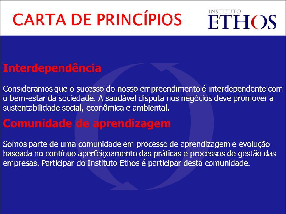 Interdependência Consideramos que o sucesso do nosso empreendimento é interdependente com o bem-estar da sociedade. A saudável disputa nos negócios de