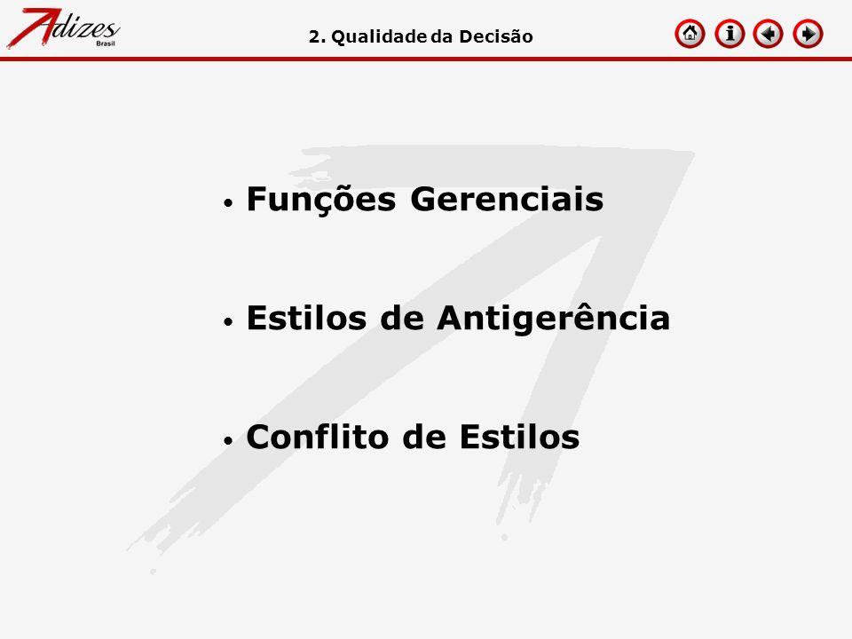 Funções Gerenciais Estilos de Antigerência Conflito de Estilos 2. Qualidade da Decisão