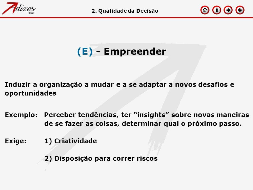 (E) - Empreender Induzir a organização a mudar e a se adaptar a novos desafios e oportunidades Exemplo: Perceber tendências, ter insights sobre novas