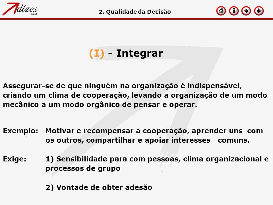 (I) - Integrar Assegurar-se de que ninguém na organização é indispensável, criando um clima de cooperação, levando a organização de um modo mecânico a