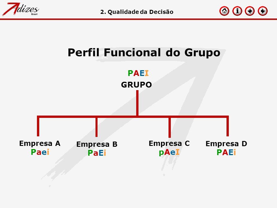 Perfil Funcional do Grupo GRUPO Empresa A Paei Empresa B PaEi Empresa C pAeI Empresa D PAEi PAEIPAEI 2. Qualidade da Decisão