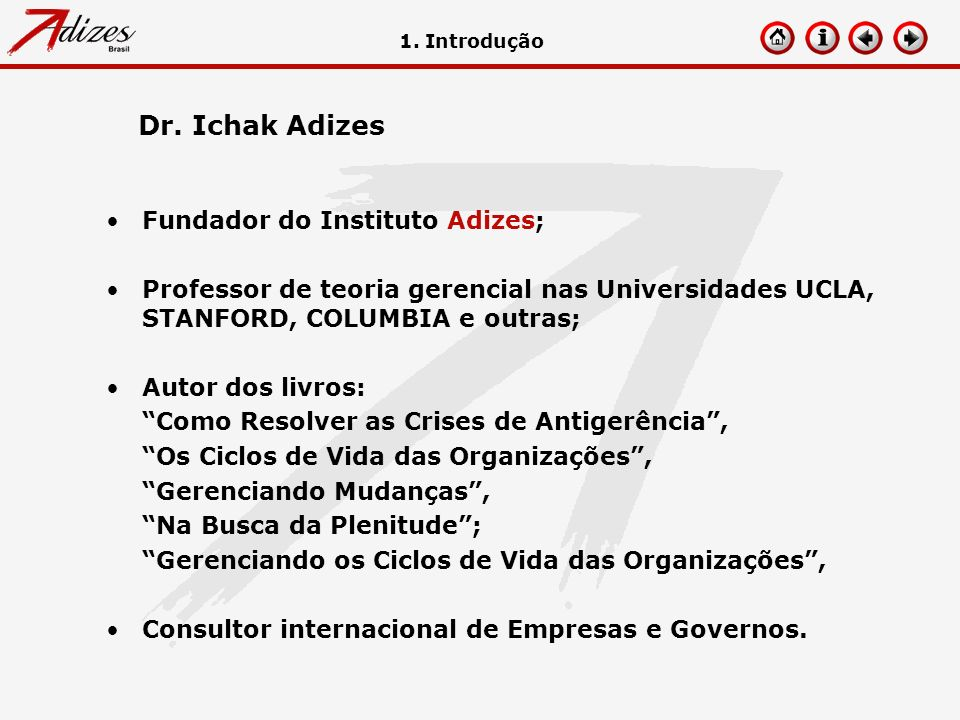 Fundador do Instituto Adizes; Professor de teoria gerencial nas Universidades UCLA, STANFORD, COLUMBIA e outras; Autor dos livros: Como Resolver as Cr