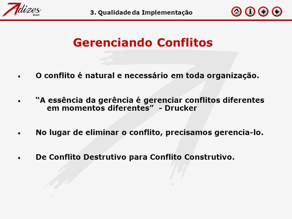 Gerenciando Conflitos O conflito é natural e necessário em toda organização. A essência da gerência é gerenciar conflitos diferentes em momentos difer