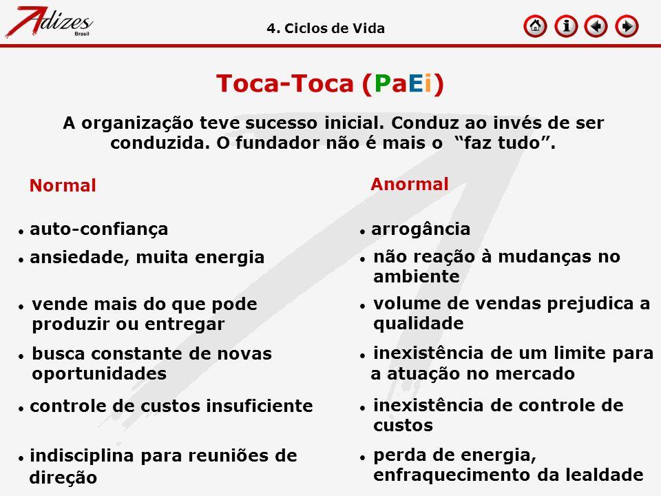 Toca-Toca (PaEi) A organização teve sucesso inicial. Conduz ao invés de ser conduzida. O fundador não é mais o faz tudo. 4. Ciclos de Vida Normal Anor