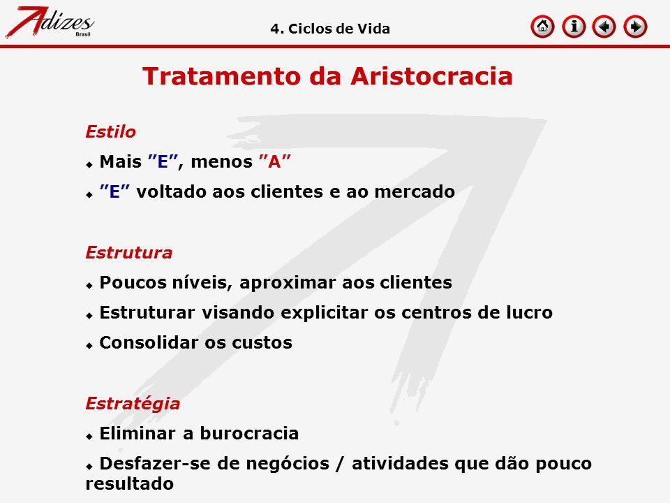 Tratamento da Aristocracia Estilo u Mais E, menos A u E voltado aos clientes e ao mercado Estrutura u Poucos níveis, aproximar aos clientes u Estrutur
