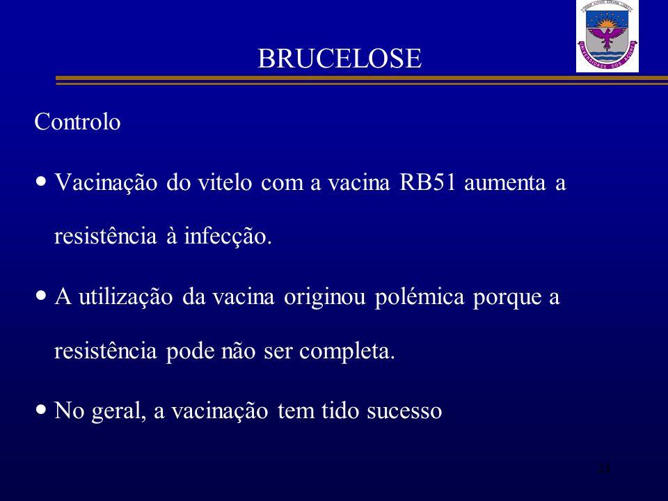 BRUCELOSE Controlo Vacinação do vitelo com a vacina RB51 aumenta a resistência à infecção. A utilização da vacina originou polémica porque a resistênc