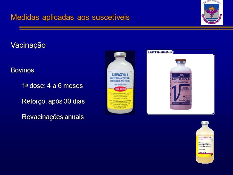 Medidas aplicadas aos suscetíveis Vacinação Bovinos 1 a dose: 4 a 6 meses Reforço: após 30 dias Revacinações anuais