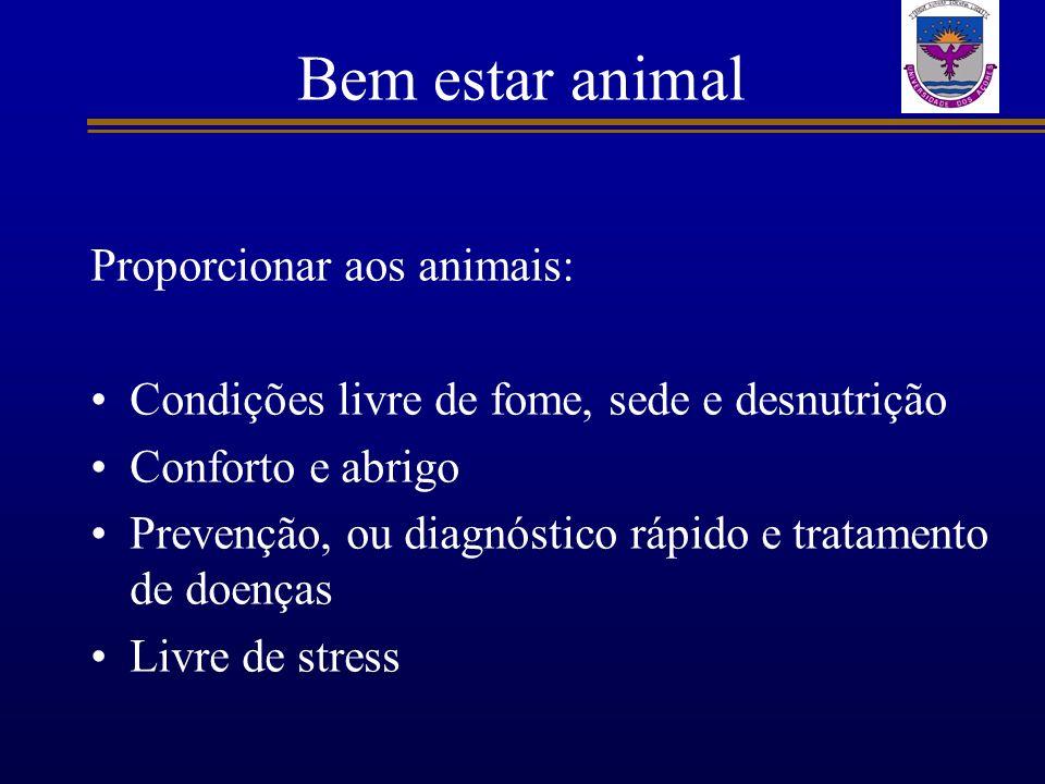 Bem estar animal Proporcionar aos animais: Condições livre de fome, sede e desnutrição Conforto e abrigo Prevenção, ou diagnóstico rápido e tratamento