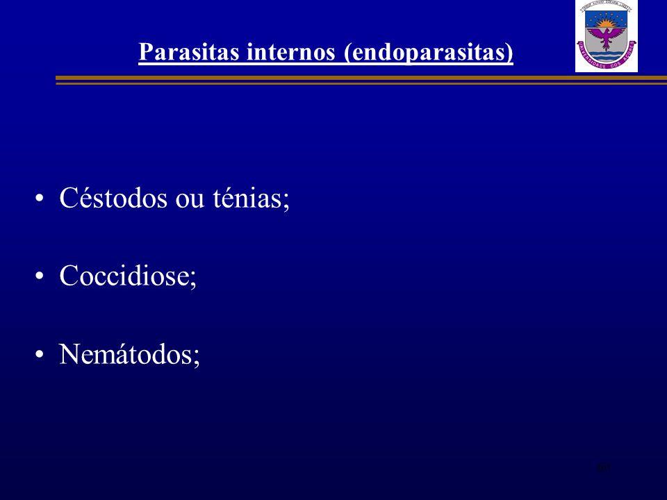 Parasitas internos (endoparasitas) Céstodos ou ténias; Coccidiose; Nemátodos; 60