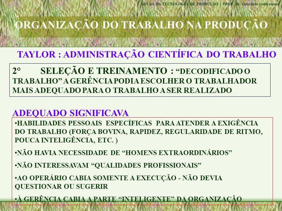 ORGANIZAÇÃO DO TRABALHO NA PRODUÇÃO TAYLOR : ADMINISTRAÇÃO CIENTÍFICA DO TRABALHO 3° ESTRUTURA ADMINISTRATIVA DA FÁBRICA : A ADMINISTRAÇÃO DA PRODUÇÃO PASSAVA A SER EXERCIDA POR ESPECIALISTAS E NÃO PELOS OPERÁRIOS EXPERIENTES MESTRES E CONTRA-MESTRES.