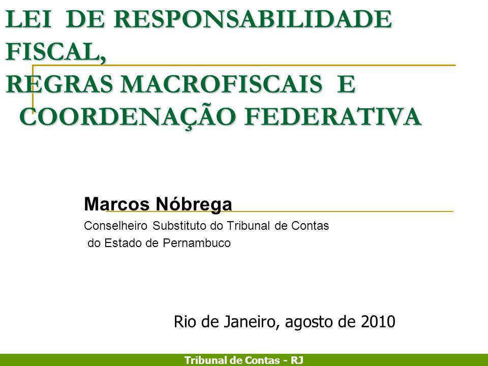 Tribunal de Contas - RJ LEI DE RESPONSABILIDADE FISCAL, REGRAS MACROFISCAIS E COORDENAÇÃO FEDERATIVA Marcos Nóbrega Conselheiro Substituto do Tribunal
