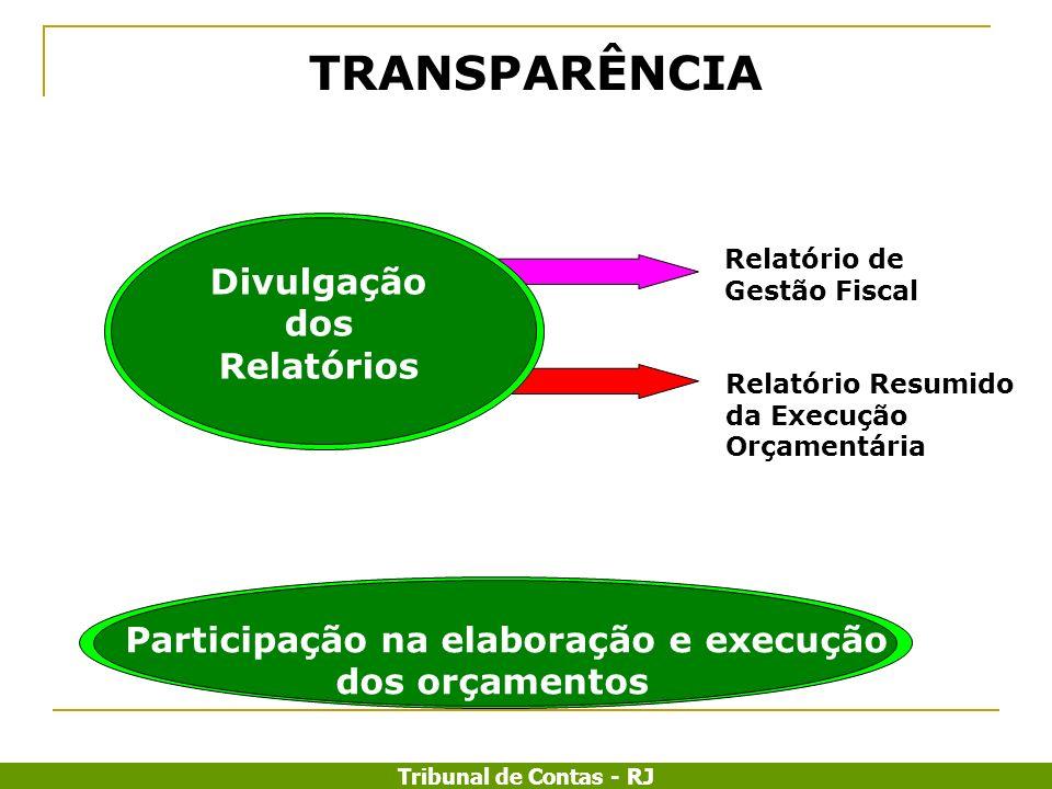 Tribunal de Contas - RJ Relatório Resumido da Execução Orçamentária Relatório de Gestão Fiscal Divulgação dos Relatórios Participação na elaboração e