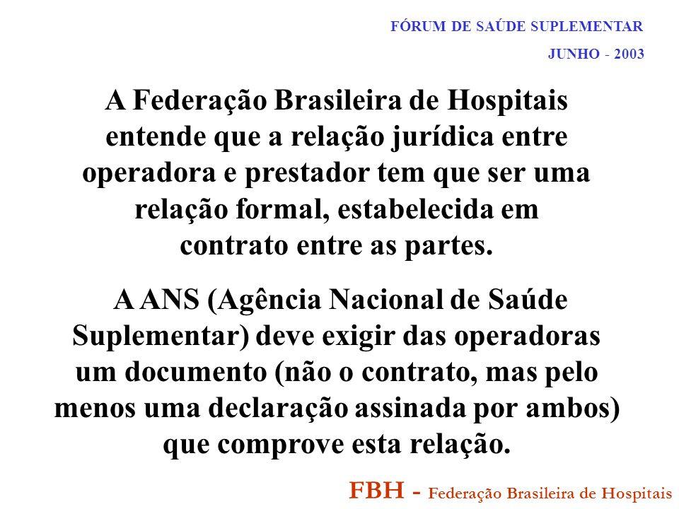 FÓRUM DE SAÚDE SUPLEMENTAR JUNHO - 2003 FBH - Federação Brasileira de Hospitais A Federação Brasileira de Hospitais entende que a relação jurídica entre operadora e prestador tem que ser uma relação formal, estabelecida em contrato entre as partes.