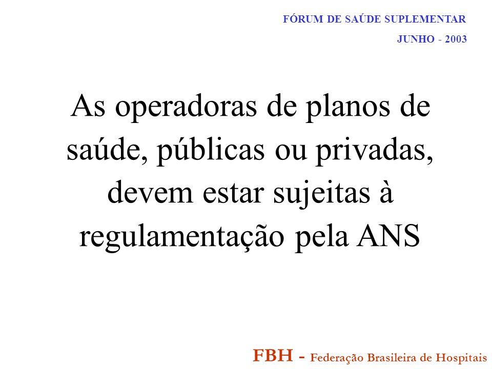 FÓRUM DE SAÚDE SUPLEMENTAR JUNHO - 2003 FBH - Federação Brasileira de Hospitais As operadoras de planos de saúde, públicas ou privadas, devem estar sujeitas à regulamentação pela ANS