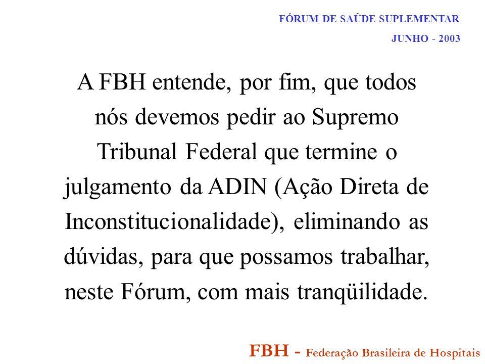 FÓRUM DE SAÚDE SUPLEMENTAR JUNHO - 2003 FBH - Federação Brasileira de Hospitais A FBH entende, por fim, que todos nós devemos pedir ao Supremo Tribunal Federal que termine o julgamento da ADIN (Ação Direta de Inconstitucionalidade), eliminando as dúvidas, para que possamos trabalhar, neste Fórum, com mais tranqüilidade.