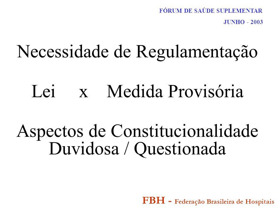 FÓRUM DE SAÚDE SUPLEMENTAR JUNHO - 2003 FBH - Federação Brasileira de Hospitais Necessidade de Regulamentação Lei x Medida Provisória Aspectos de Constitucionalidade Duvidosa / Questionada