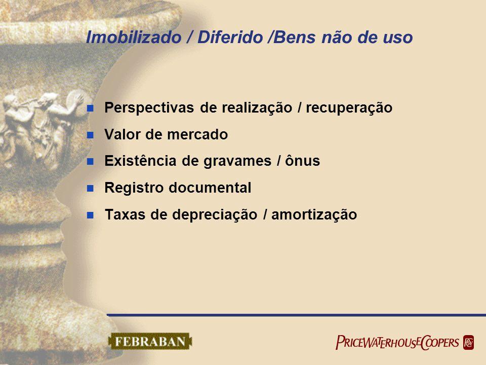 Imobilizado / Diferido /Bens não de uso Perspectivas de realização / recuperação Valor de mercado Existência de gravames / ônus Registro documental Ta