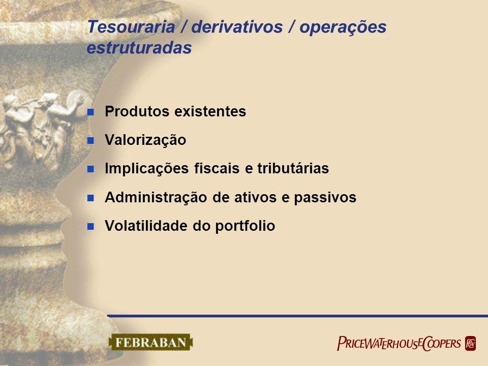 Tesouraria / derivativos / operações estruturadas Produtos existentes Valorização Implicações fiscais e tributárias Administração de ativos e passivos