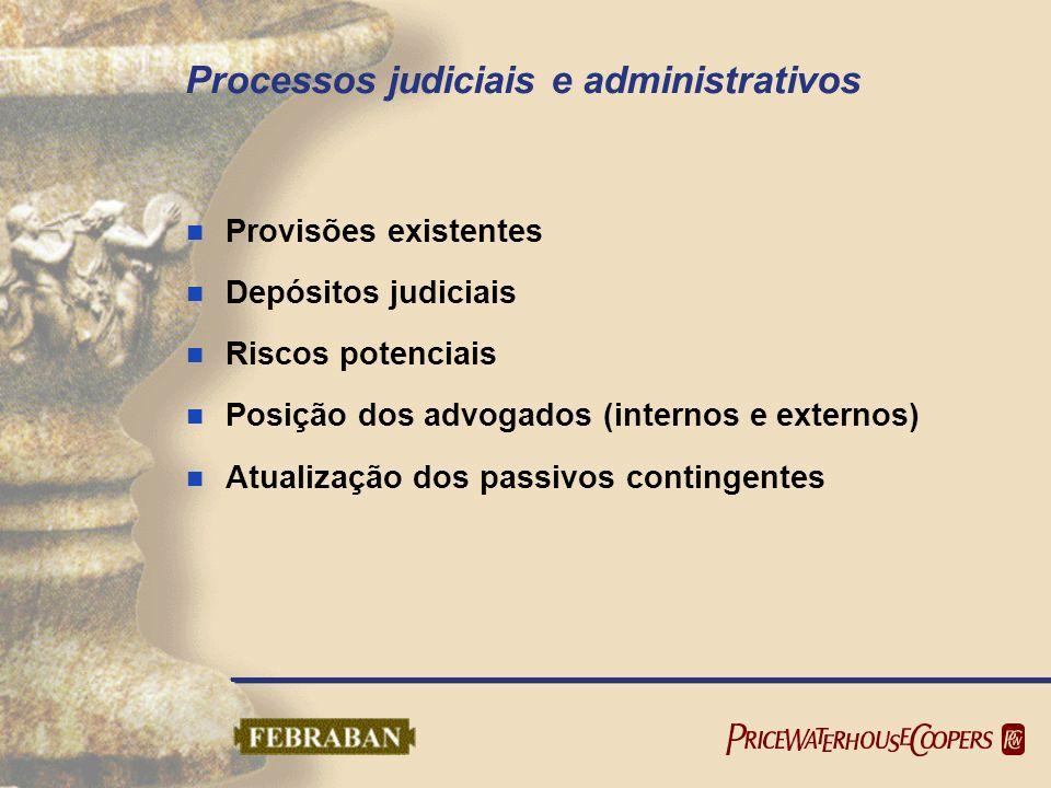 Processos judiciais e administrativos Provisões existentes Depósitos judiciais Riscos potenciais Posição dos advogados (internos e externos) Atualizaç