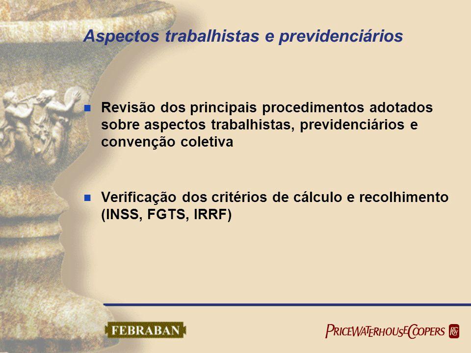 Aspectos trabalhistas e previdenciários Revisão dos principais procedimentos adotados sobre aspectos trabalhistas, previdenciários e convenção coletiv