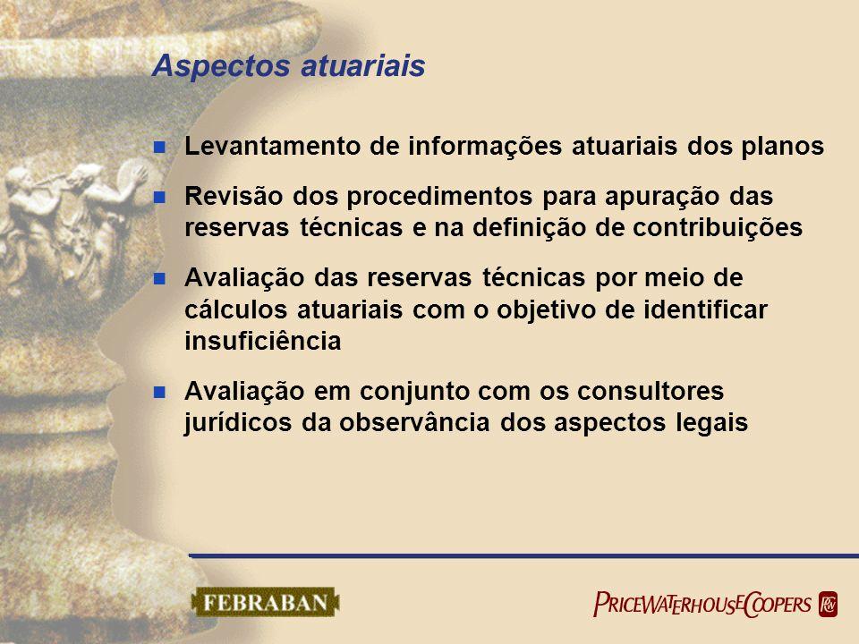 Aspectos atuariais Levantamento de informações atuariais dos planos Revisão dos procedimentos para apuração das reservas técnicas e na definição de co
