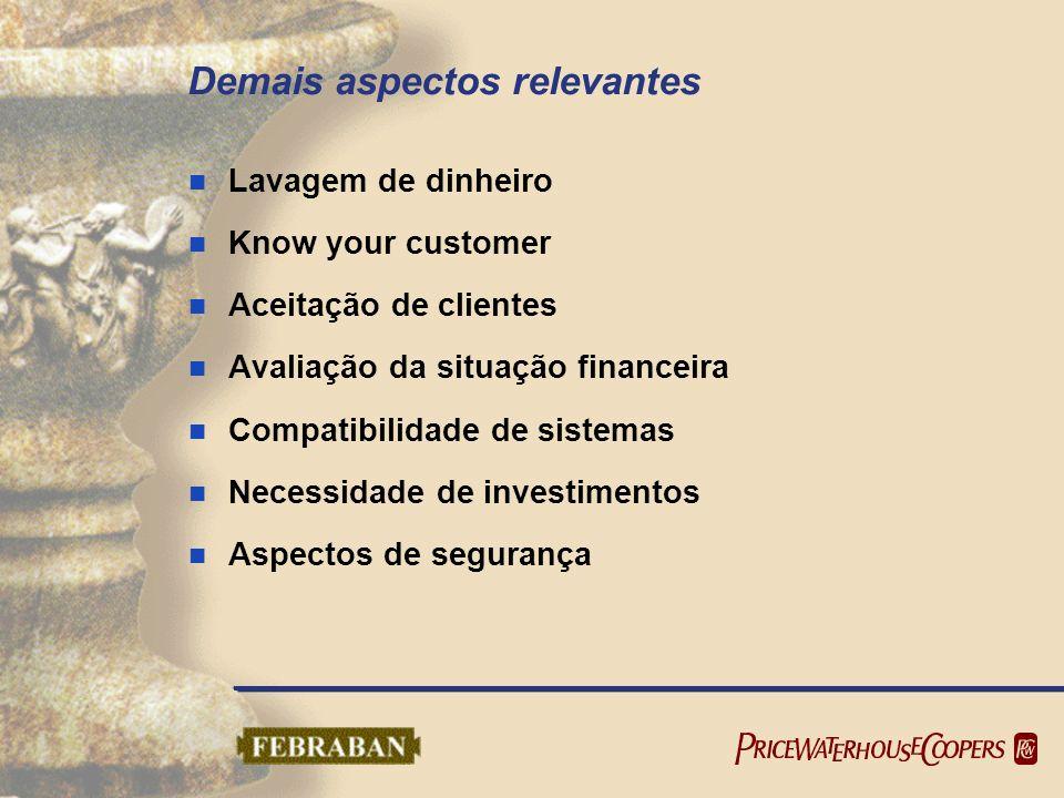 Demais aspectos relevantes Lavagem de dinheiro Know your customer Aceitação de clientes Avaliação da situação financeira Compatibilidade de sistemas N