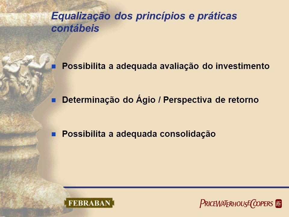 Equalização dos princípios e práticas contábeis Possibilita a adequada avaliação do investimento Determinação do Ágio / Perspectiva de retorno Possibi