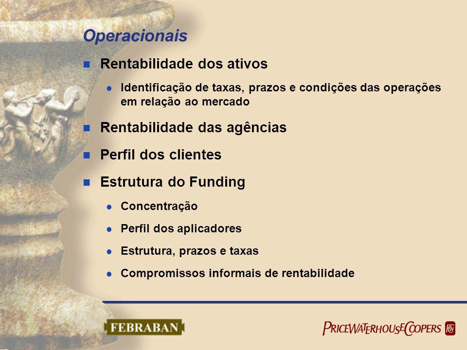 Operacionais Rentabilidade dos ativos Identificação de taxas, prazos e condições das operações em relação ao mercado Rentabilidade das agências Perfil