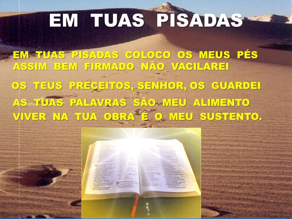 EM TUAS PISADAS QUE BOM SENHOR, CONHECER A JESUS. CAMINHO, VIDA, VERDADE E LUZ. QUE BOM SENHOR, CONHECER A JESUS. CAMINHO, VIDA, VERDADE E LUZ.