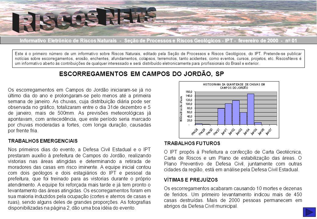 Informativo Eletrônico de Riscos Naturais - Seção de Processos e Riscos Geológicos - IPT - fevereiro de 2000 - n o 01 Este é o primeiro número de um i
