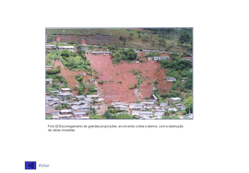 Voltar Foto 02 Escorregamento de grandes proporções, envolvendo cortes e aterros, com a destruição de várias moradias.