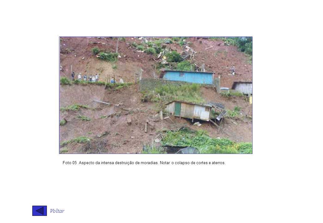 Voltar Foto 05 Aspecto da intensa destruição de moradias. Notar o colapso de cortes e aterros.