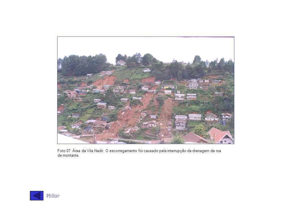 Voltar Foto 07 Área da Vila Nadir. O escorregamento foi causado pela interrupção da drenagem da rua de montante.