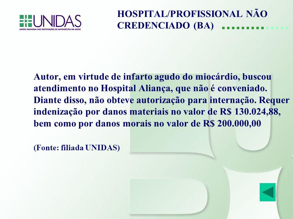 HOSPITAL/PROFISSIONAL NÃO CREDENCIADO (BA) Autor, em virtude de infarto agudo do miocárdio, buscou atendimento no Hospital Aliança, que não é convenia