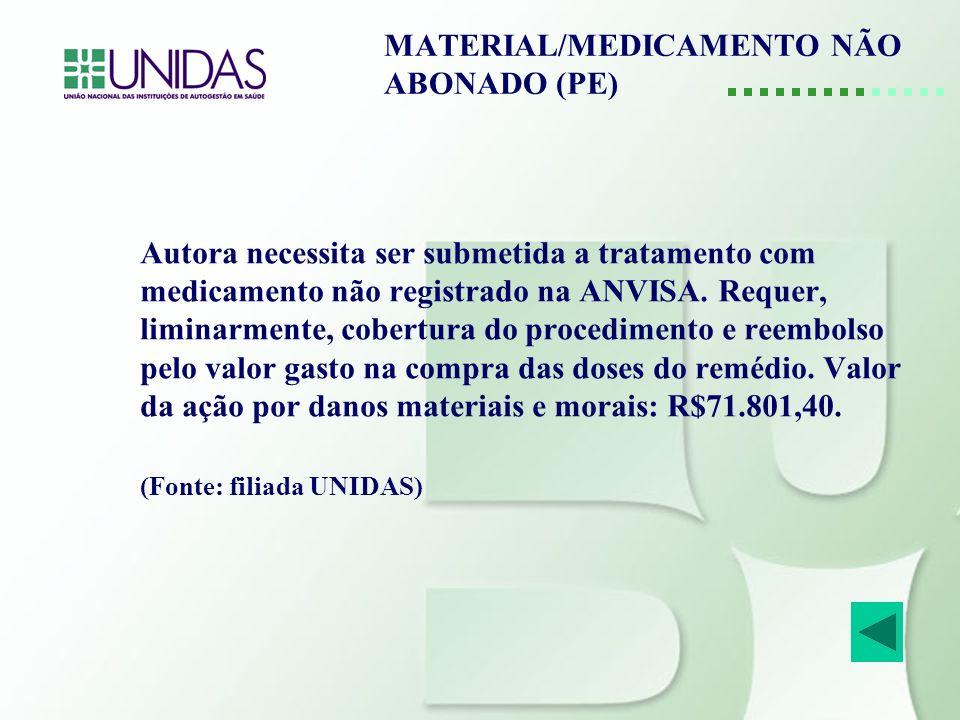 MATERIAL/MEDICAMENTO NÃO ABONADO (PE) Autora necessita ser submetida a tratamento com medicamento não registrado na ANVISA. Requer, liminarmente, cobe