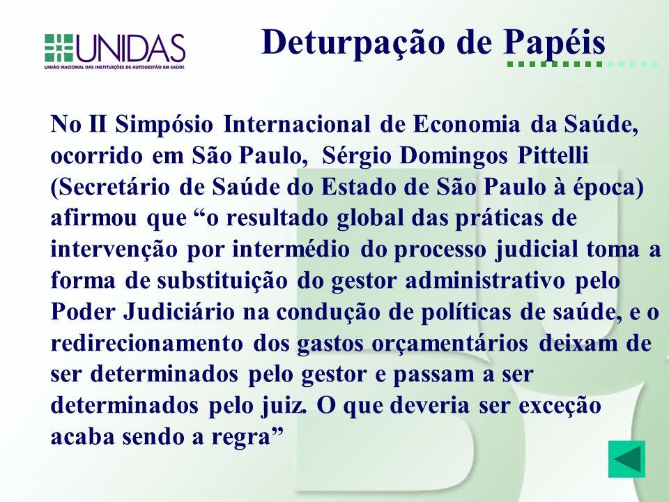 Deturpação de Papéis No II Simpósio Internacional de Economia da Saúde, ocorrido em São Paulo, Sérgio Domingos Pittelli (Secretário de Saúde do Estado