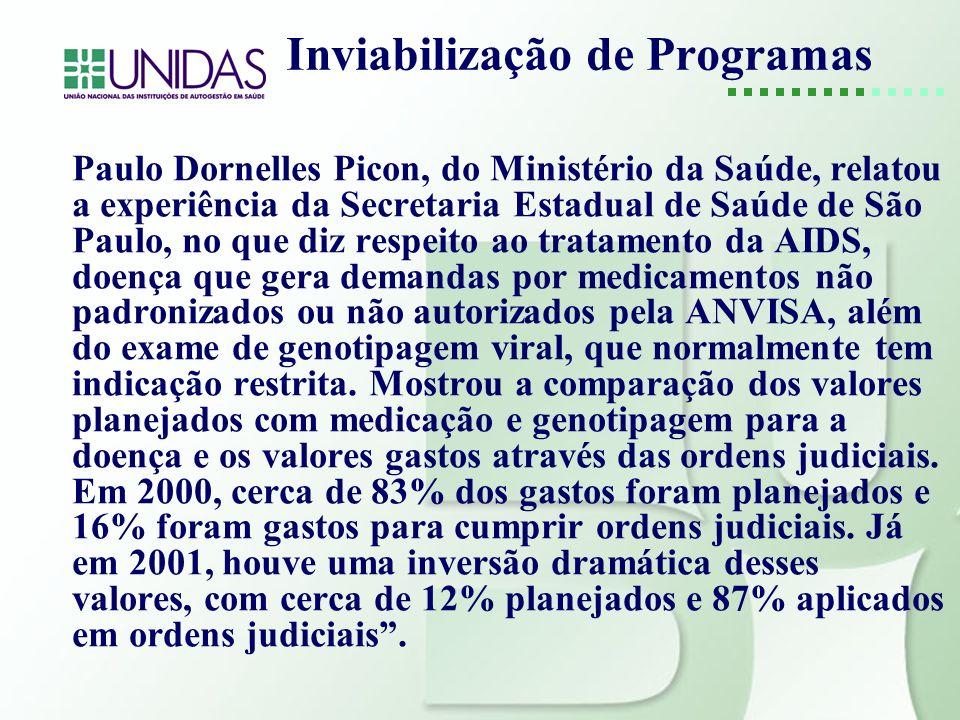 Inviabilização de Programas Paulo Dornelles Picon, do Ministério da Saúde, relatou a experiência da Secretaria Estadual de Saúde de São Paulo, no que